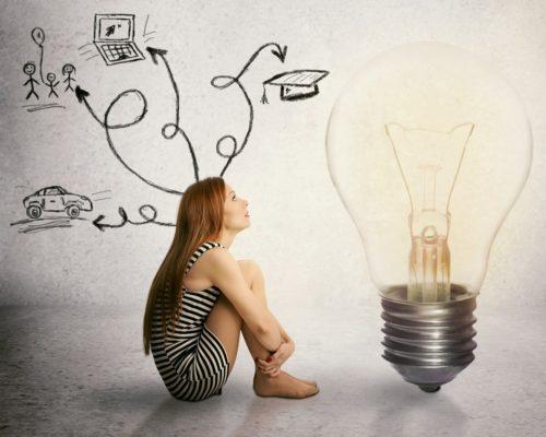Frau sitzt vor Glühbirne - Wahrnehmung