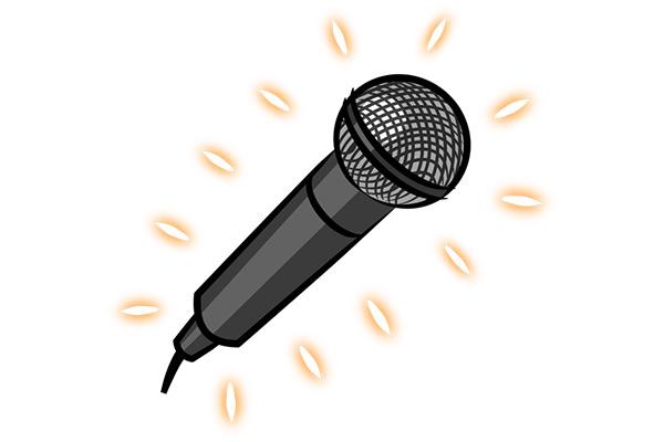 Leuchtendes Mikrofon Digitalgrafik